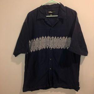 No Fear Button Down Shirt VTG Navy Blue Hawaiian